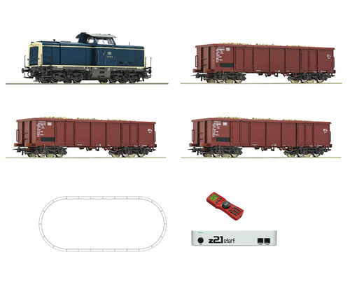ROCO 51299 - Start set digitale z21 con locomotiva Diesel 211 e tre crri merci, ep.IV