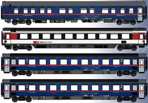 MODELS WORLD MW1811/1 - Set 4 carrozze Nightjet Hamburg-Zurich OBB/SBB, ep.VI